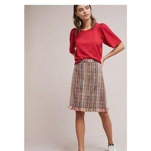 Anthropologie multi colored tweed skirt fringe